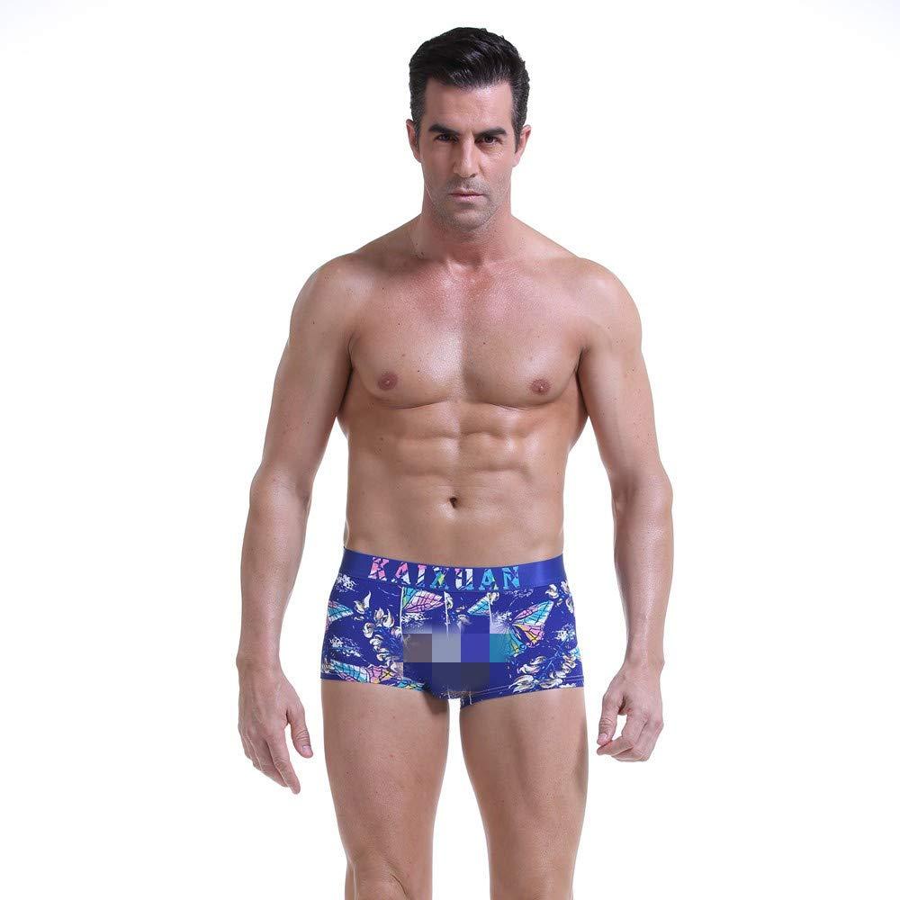 NEARTIME Men's Underwear, Classic Briefs Man Flower Print Boxer Under Wear Full Briefs