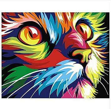 Cuadro Gato Diy Pintura Por Números Arte De La Pared Moderna Imagen Pintada A Mano Decoración Para El Hogar Obras De Arte Con marco,40x50cm: Amazon.es: ...