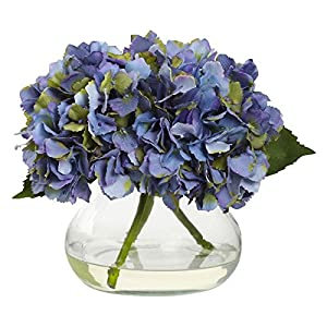 Nearly Natural Blooming Hydrangea Silk Flower with Glass Vase 18