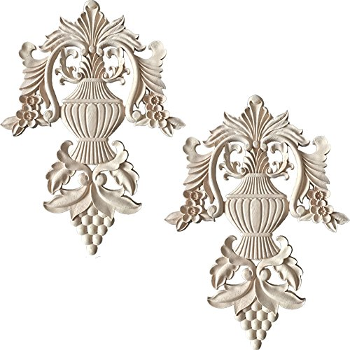 WINGOFFLY Wood Carved Onlay Corner Unpainted Applique Frame for Decoration Home Furniture Doors Windows Grape4 2Pics(16