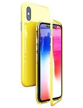 Kumwum Iphone Xs Funda Adsorción Magnética Colorea Vidrio Templado Volver Carcasa Y Antigolpes Marco De Pc Duro 360 Grados Protección Case Para Iphone