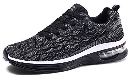 TSIODFO Men air Cushion Running Shoes for 2019 Summer Flyknit mesh Breathable Comfort Youth Boys Tennis Shoes Gym Workout Jogging Athletic Walking Sneakers Black Size 6.5 (6099-Black-39)