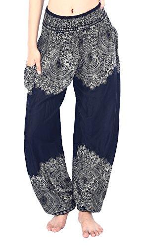 Boho Vib Women's Rayon Elephant Print Boho Harem Yoga Pants (L/XL, Leaf 1 Black)