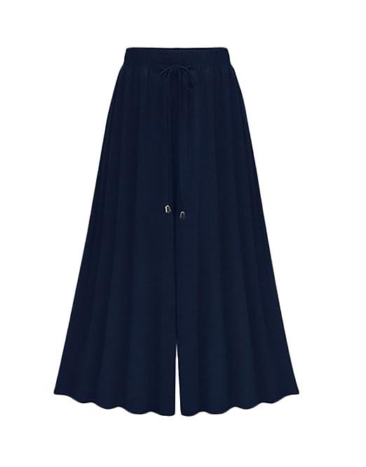 b89f084a6f7f Pantaloni Palazzo Donna Primavera Estate Eleganti Vita Alta Larghi Moda  Casual Pantaloni Taglie Forti: Amazon.it: Abbigliamento