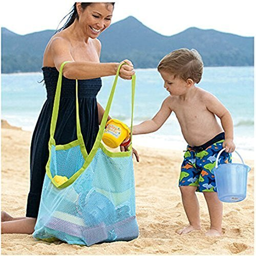 Extra Large Mesh Beach Bag Tote Backpack Toys Towels Sand Away,Perfect for Holding Childrens' Toys (Beach Toys)