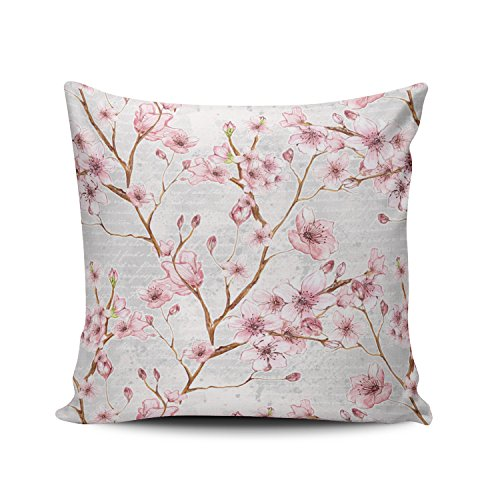 Fanaing Pink and Gray Cherry Blossom Pillowcase Home Sofa Decorative 16X16 Inch Square Throw Pillow Case Decor Cushion Covers One-Side Printed ()