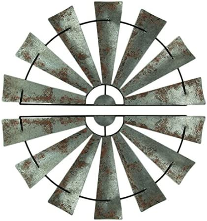 Zeckos Pair of 48 Inch Galvanized Metal Half-Windmill Wall Sculptures Large Rustic Home Decor Country Farmhouse Art Decoration