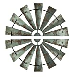 Zeckos Metal Wall Sculptures Pair of Large Distressed Metal Half Moon Windmill Wall Sculpture 47.5 X 24 X 0.25 Inches Silver