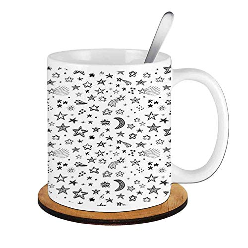 - Stars and Crescent Moon Heavenly Bodies Sketch Space Cosmos,Black White;Ceramic Cup with Spoon & Round wooden coaster Milk Coffee Tea Mug 11oz gifts for family
