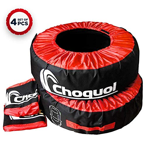 (Choquol Seasonal Car Tire Cover Tote - Set of 4 Car Spare Tire Covers with Carry Bag - Dust, Dirt Protection - Built-in Handle - Mess-Free Storage & Handling - for 21 to 28 inches.)
