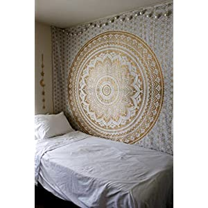 Wall Tapestry - Hanging Mandala Tapestries – Bohemian Beach Picnic Blanket – Hippie Decorative & Psychedelic Dorm Decor - 92 x 83 Inch (Gold Queen) by Craft N Craft India