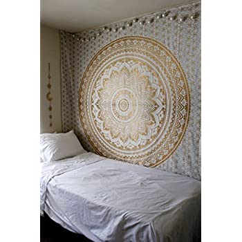 Wall Tapestries - Hanging Mandala Tapestry – Bohemian Beach Picnic Blanket – Hippie Decorative & Psychedelic Dorm Decor - 92 x 83 Inch ( Gold Queen) by Craft N Craft India