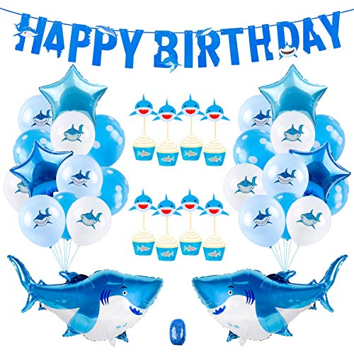 Baby Shark Party Supplies Decorations - 40 Pieces under the sea party decorations | Shark balloons, Happy Birthday Shark banner, Shark Cake Topper for Shark Birthday Party Decorations/Baby Shark Party Favors ()