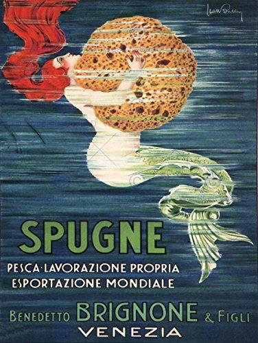 SPONGE MERMAID VENICE ITALY BRIGNONE BROTHERS VINTAGE ADVERTISING POSTER 1505PY