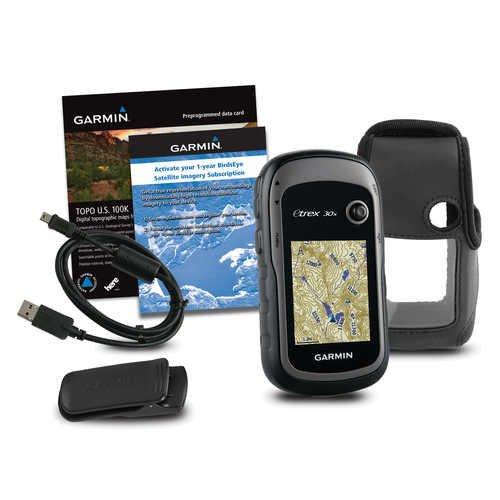 Garmin eTrex 30x TOPO GPS Bundle (100K Topographic Card, Carry Case, BirdsEye, Belt Clip), Upgraded Version of Garmin eTrex 30 bundle
