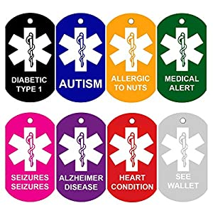 CNATTAGS Set of 2 Medical Alert ID Tags | Personalized FRONT AND BACK | Medical Alert Logo | Medical Pet Tag Dog Tag