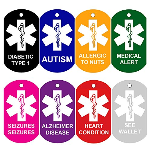 2 Medical Alert ID Tags | Personalized FRONT AND BACK | Medical Alert Logo | Medical Pet Tag Dog Tag by CNATTAGS (Red) ()