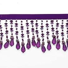 "2-5/8"" Long Beaded Fringe for Home Deco, Lamp Shade, Costume 1 yard, Purple, RL-CBF-19"