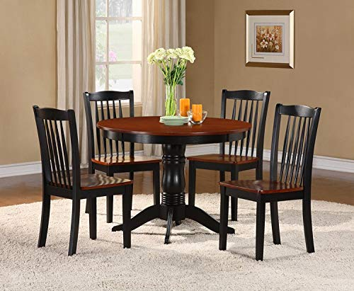Homelegance Andover Two-Tone 5-Piece Counter Height Round Dining Set with Pedestal Base, Black