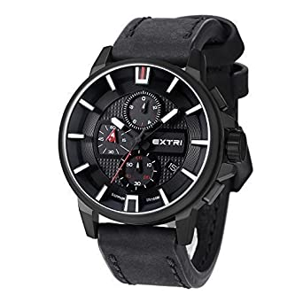 extri x3009d men leather silver red charcoal amazon co uk watches extri x3009d men leather silver red charcoal