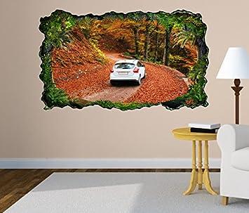 3d Wandtattoo Auto Weg Strasse Herbst Wald Blatter Selbstklebend