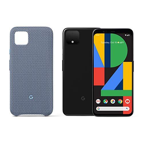 Google Pixel 4 XL - Just Black - 128GB - Unlocked with Pixel 4 XL Case, Blue-ish