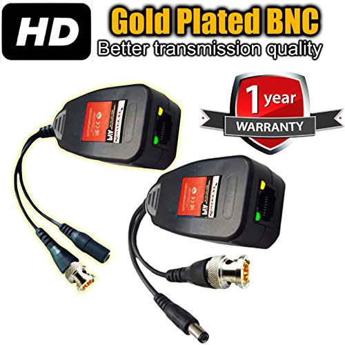 (UTP balun hd Ventech cat5 to bnc video baluns transceiver passive with power connector compatible with all CCTV technologies( analog AHD TVI CVI ntsc pal ) 1 PAIRS rj45 75 ohn connectors)