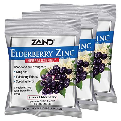 Zand Herbalozenge, Sweet Elderberry Zinc, 15 Count (Pack of 3) ()