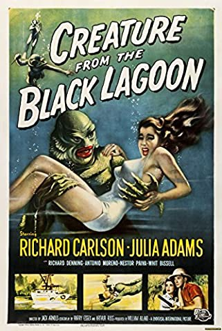 Old Tin Sign Horror Creature From The Black Lagoon Classic Vintage Movie Poster MADE IN THE USA (Classic Scary Movie Posters)