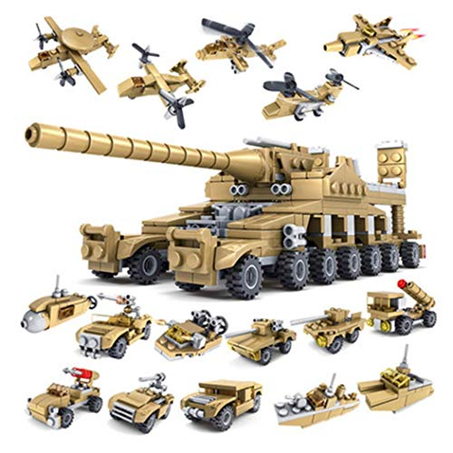 Weardear Kids Children Puzzle Assembled Building Blocks Cannon Tank 16 in 1 Toy Set Stacking - Block 16 Inch