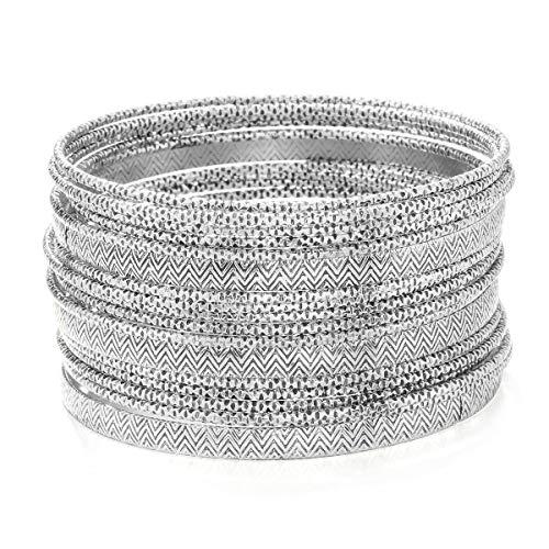 Ensoul Antique Silver Color Multiple Textured Metal Bracelets & Bangles Set for Women 18Pcs/Set