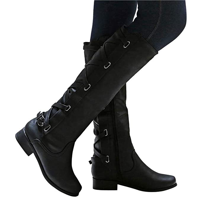9ae73f5ce33 Gyoume Long Boots Women Knee High Cowboy Boots Lace Up Boots Buckle Boots  Shoes Riding Long Boots