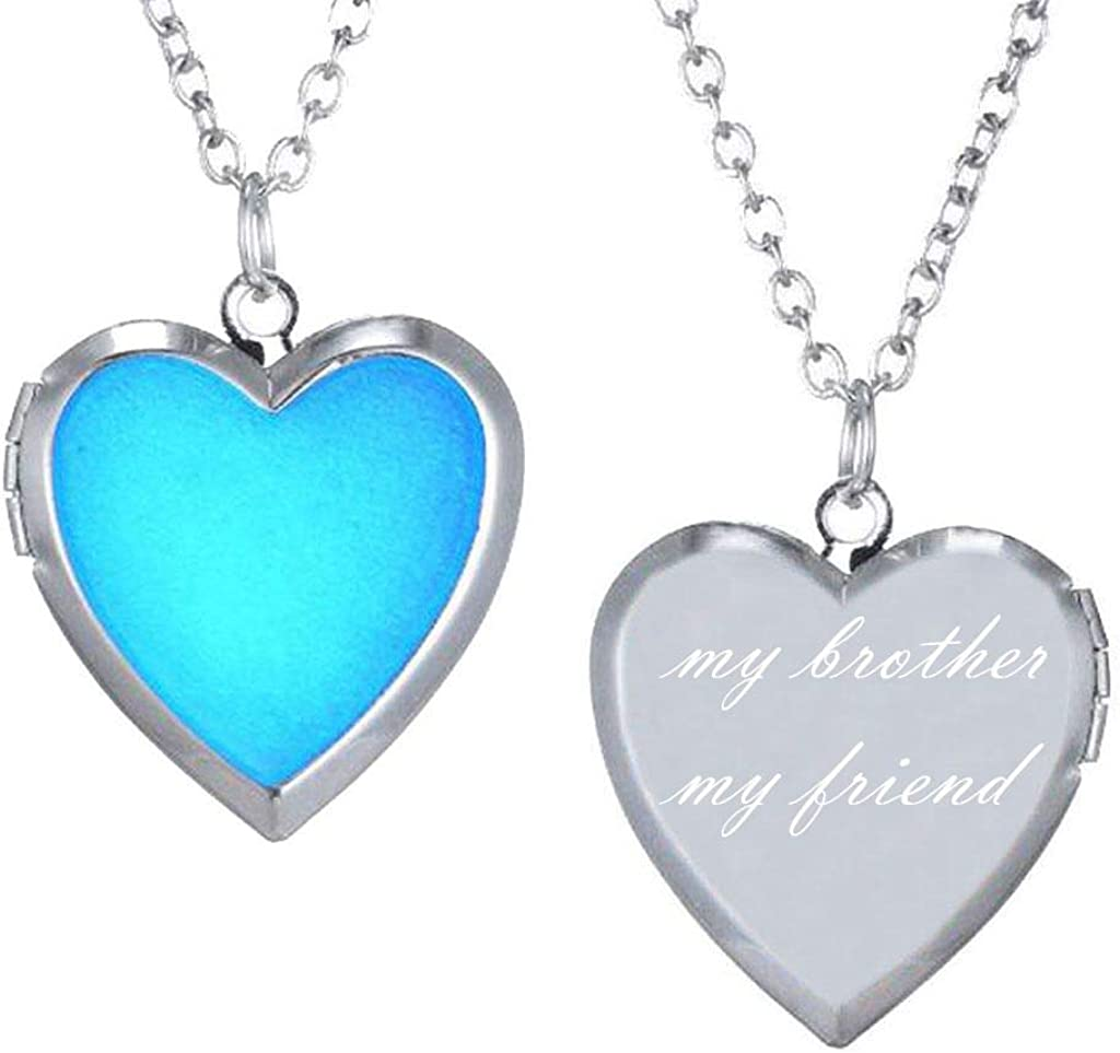 CliPons Mood Charm Necklace for Girls Heart Locket Pendant Letter My Brother My Friend