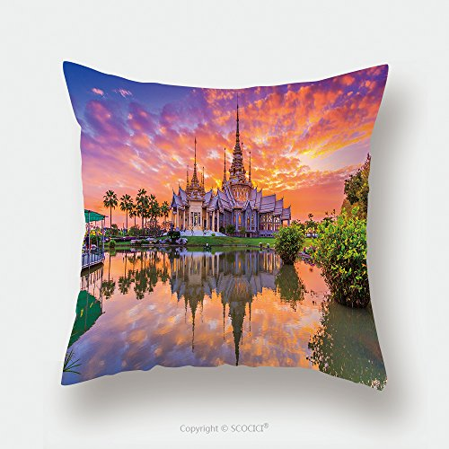Custom Satin Pillowcase Protector Landmark Wat Thai Sunset In Temple At Wat None Kum In Nakhon Ratchasima Province Thailand 238473214 Pillow Case Covers Decorative by chaoran
