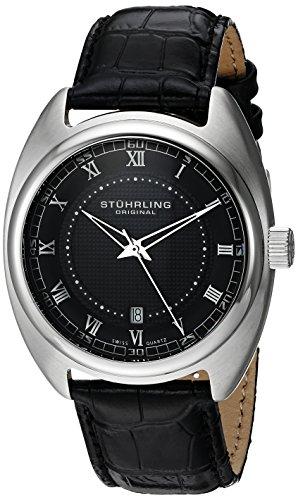 Stuhrling Original Men's 728.02 Aristocrat Twenty Stainless Steel Watch with Black Leather Band (Watch Steel Tonneau Stainless)