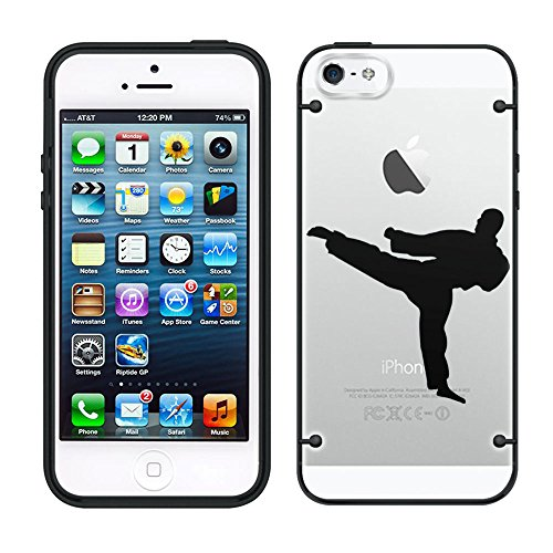 Martial Arts Silhouette - iPhone 6 Silhouette Martial Arts on Clear with Black Trim Case