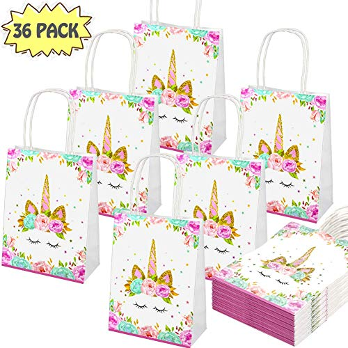 POKONBOY 36 Pack Unicorn Gifts Bags - Unicorn Paper Bags - Unicorn Birthday Party Supplies - Paper Unicorn Party Bags Gift Bags for Unicorn Birthday Party Supplies