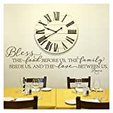 Bless the Food Before Us, the Family Beside Us, and the Love Between Us, Amen Vinyl Lettering Wall Decal (Style B 16'' H x 58'' L, Metallic Bronze)
