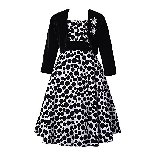 Richie House Big Girl's Long Style Polka Dot Dress with Cape RH1508-B-7/8-FBA (Kids Black Dresses)