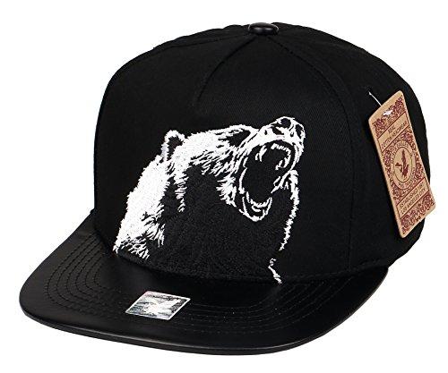 RufnTop California Republic Cap CALI Bear Embroidered Cali Bear Snapback Hat(Embroidered Bear)