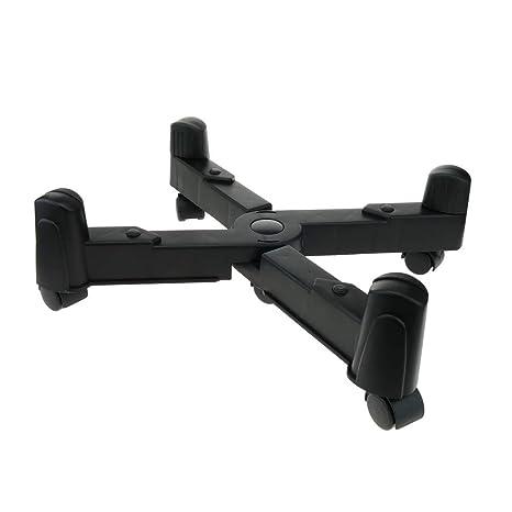 BeMatik - Soporte para Ordenador PC con Ruedas de Color Negro Ajustable 8-25 cm