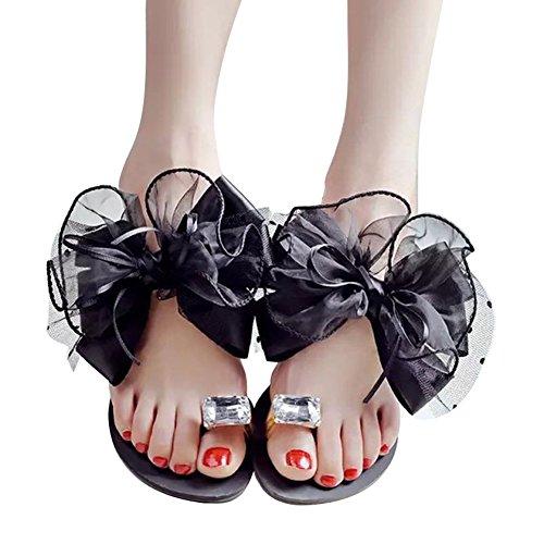 Chaussons Femme Tongs Décontractée Chaussures Flop Strass Toe Plate Chaussures Clip Noir Flip Baignade Été Gris Tongues Noir Yying Mode Plage qBwxvB