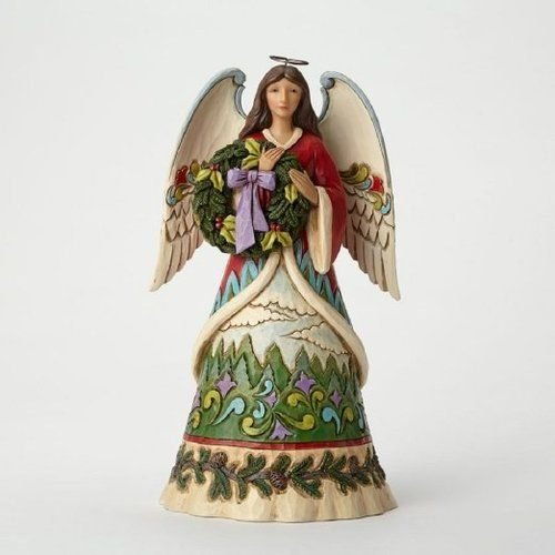 Jim Shore for Enesco Heartwood Creek Angel with Evergreen Wreath Figurine, 9.5