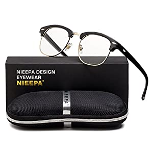 Semi Rimless Glasses Frame Classic Men Women Brand Designer Clear Lens Glasses Vintage Square Half Frame Eyeglasses (Transparent Lens/Bright Black Frame/Gold Rimmed)