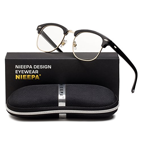 Semi Rimless Glasses Frame Classic Men Women Brand Designer Clear Lens Glasses Vintage Square Half Frame Eyeglasses (Transparent Lens/Bright Black Frame/Gold - For Square Eyeglasses Women
