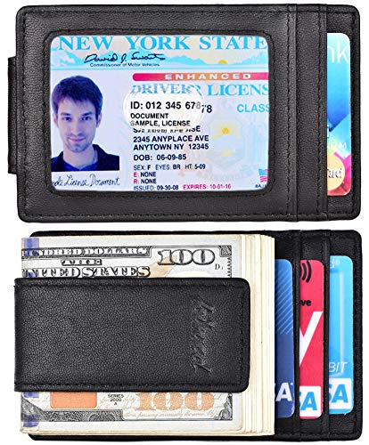 - Money Clip, Front Pocket Wallet, Leather RFID Blocking Strong Magnet thin Wallet