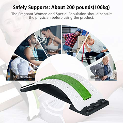 Wskderliner Back Stretcher, Lumbar Back Pain Relief Device with 3 Adjustable Settings Lumbar Support Stretcher with Magnetic Posture Corrector Back Support for Office Bed Chair (White)