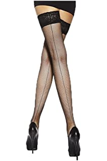 23a143d9374895 Fishnet Backseam Lace Top Hold Ups By Sentelergi,Various Colours,Sizes S,M