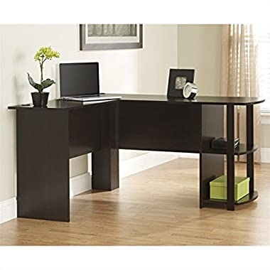 Ameriwood Home Dakota L-Shaped Desk with Bookshelves, Espresso