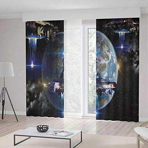 TecBillion Door Curtain,War Home Decor for Living Room,Alien Ship Fleet Close to Earth Invasion of World Outer Space Galaxy Artwork,79Wx83L Inches